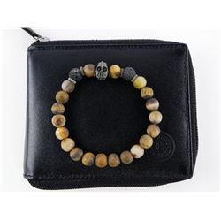 Lava Stone Bracelet with Leather Wallet