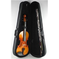 Violin with Case, Bow, Resin, Piano Finish