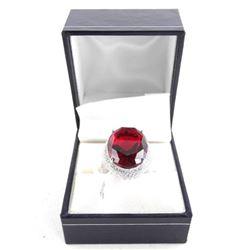 925 Silver Custom Ring Ruby Red Swarovski Elements