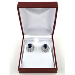 925 Silver Cluster Earrings Oval Sapphire Blue Swa