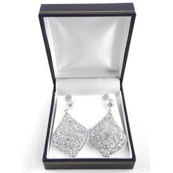 925 Silver 3 Tier Drop Earring Bead Set Swarovski