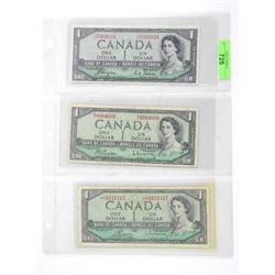 Group of (3) Bank of Canada 1.00 1954 Modified Por