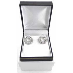 925 Silver Fancy Earring Set with Baguette Swarovs