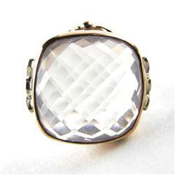 Estate 9kt Gold Ring Cushion Cut, Rose Quartz 12.0