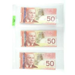 Lot (3) Bank of Canada 2004 Fifty Dollar Notes