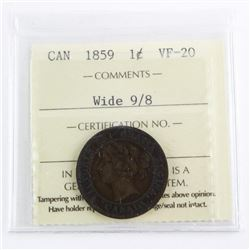1859 Canada Large Cent Wide 8/9 VF20 ICCS (SXR)