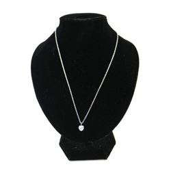 Silver Heart Cut Solitaire Necklace 1 Carat Swarov