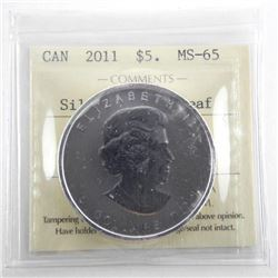 2011 .9999 Fine Silver Maple Leaf 5.00 MS65. ICCS.