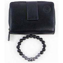 Gents Lava Stone bracelet and Wallet Set