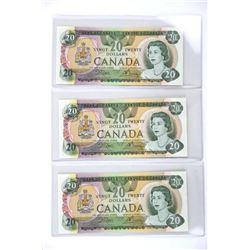 Lot (3) Bank of Canada 1979 Twenty Dollar Note. Cr