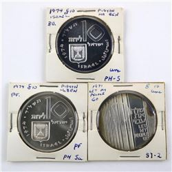 Lot (3) Israel Silver Coins Proof