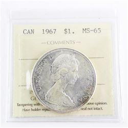 1867-1967 Silver Dollar MS-65. ICCS. (MXR)