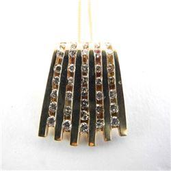 Estate 14kt Gold 35 Diamond Pendant and Chain 6.94