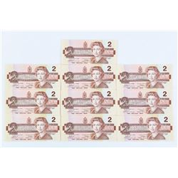 Lot (10) Bank of Canada 1986 2.00 (EBX) Consecutiv