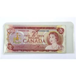 Bank of Canada 1974 Two Dollar Note. Low Serial No