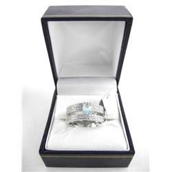 925 Silver Ring - Double Band with Oval Blue Topaz
