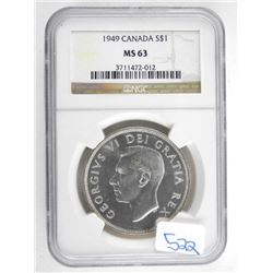 Canada 1949 Silver Dollar NGC MS63.