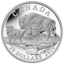 2014 $20 Fine Silver Coin - The Bison - A Family at Rest.