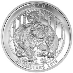 2015 $20 Grizzly Bear: Togetherness - Pure Silver Coin