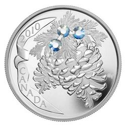 2010 $20 Holiday Pine Cones: Moonlight - Pure Silver Coin. Issue: $124.95.