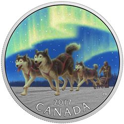 $10 Fine Silver Coin - Dog Sledding Under the Northern Lights.