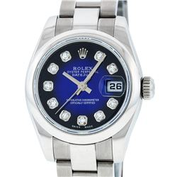 Rolex Ladies Stainless Steel Blue Vignette Diamond Quickset Datejust Wristwatch