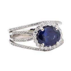 3.23 ctw Sapphire and Diamond Ring - Platinum