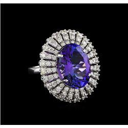 8.72 ctw Tanzanite and Diamond Ring - 14KT White Gold