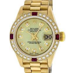 Rolex Ladies 18K Yellow Gold Champagne And Ruby Diamond President Wristwatch Wit