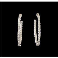 3.01 ctw Diamond Earrings - 14KT White Gold