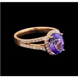 14KT Rose Gold 2.33 ctw Tanzanite and Diamond Ring