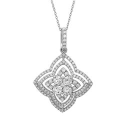 18k White Gold 1.06CTW Diamond Pendant, (SI1/G-H)