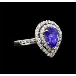 18KT White Gold 1.15 ctw Tanzanite and Diamond Ring