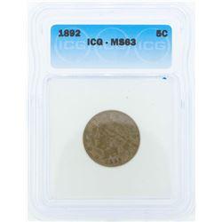 1892 Liberty Head Nickel Coin ICG MS63