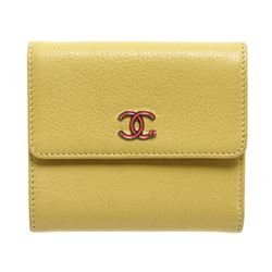Chanel Yellow Leather Pink CC Compact Wallet