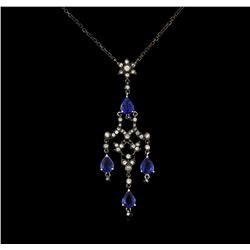 2.71 ctw Sapphire and Diamond Necklace - 18KT Rose Gold