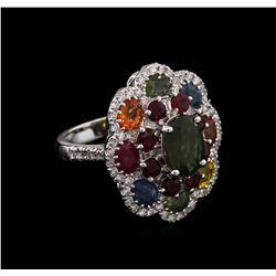 7.21 ctw Multi Gemstone and Diamond Ring - 14KT White Gold