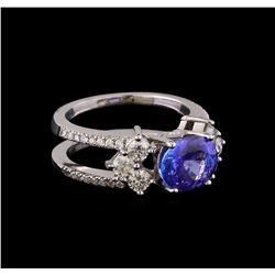 1.98 ctw Tanzanite and Diamond Ring - 14KT White Gold