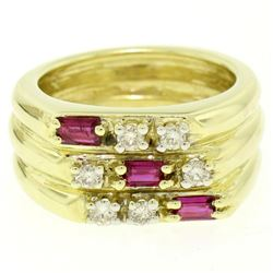 14K Yellow Gold Diamond & Baguette Ruby Wide Stacked Multi Band Ring