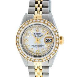 Rolex Ladies 2 Tone 14K MOP String Diamond Datejust Wristwatch