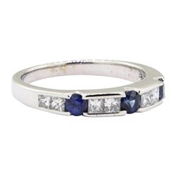 0.90 ctw Diamond and Sapphire Ring - 14KT White Gold