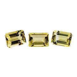 23.32 ctw.Natural Emerald Cut Citrine Quartz Parcel of Three