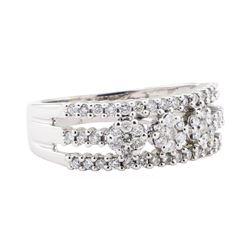 0.50 ctw Diamond Three Row Ring - 14KT White Gold