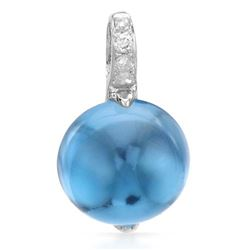 14k White Gold  2.80CTW Blue Topaz and Diamond Pendant