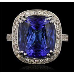 14KT White Gold 17.22 ctw GIA Cert Tanzanite and Diamond Ring