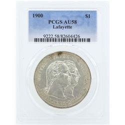 1900 $1 Lafayette Commemorative Dollar Coin PCGS AU58