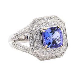 5.17 ctw Tanzanite and Diamond Ring - 14KT White Gold