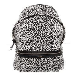 Saint Laurent YSL Black White Canvas Babycat Hunting Line Backpack