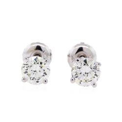 0.90 ctw Diamond Stud Earrings - 14KT White Gold