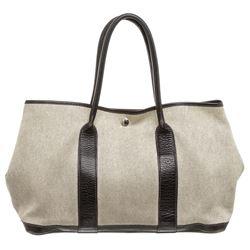 Hermes Beige Canvas Black Leather Medium Garden Party Tote Bag